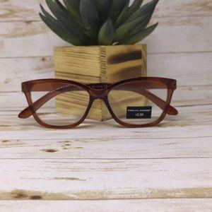 Marilyn Monroe Brown Reading Glasses +2.50 Readers